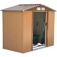 Outsunny Lockable Garden Shed Large Patio Roofed Tool Metal Storage Building Foundation Sh
