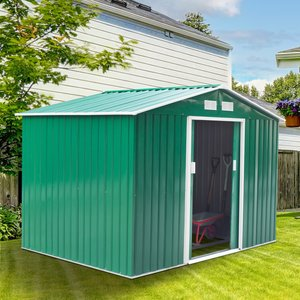 Outsunny Lockable Garden Shed Large Patio Tool Metal Storage Building Foundation Sheds Box