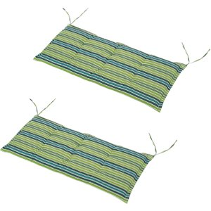 Outsunny Polyester Set Of 2 Swing Chair Cushion Green Stripes
