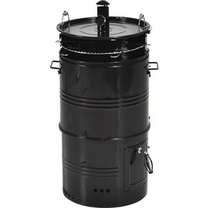 Outsunny Steel Barrel Charcoal Bbq Cooker Black
