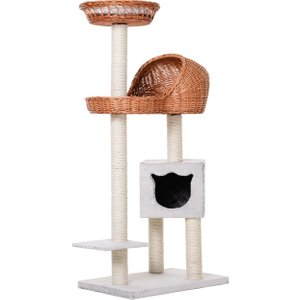 Pawhut Cats 4-tier Sisal Rope Scratching Post W/ Cave White