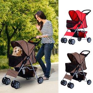 Pawhut Pet Stroller Cat Dog Basket Zipper Entry Fold Cup Holder Carrier Cart