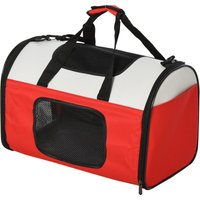Pawhut Polyester Net Expandable Medium Pet Carrier Red/white