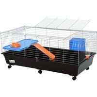 Pawhut Steel Medium 2-tier Small Animal Cage W/ Accessories Blue/orange