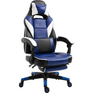 Vinsetto Pu Leather Extendable Footrest Gaming Chair Blue