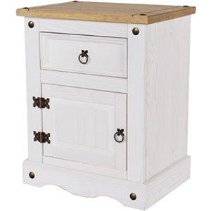 Furniture Express Brazil White 1 Door, 1 Drawer Bedside Cabinet