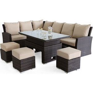 Maze Rattan Kingston Corner Sofa Dining Set With Rising Table, Brown Rattan
