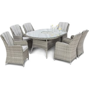 Maze Rattan Oxford 6 Seat Oval Fire Pit Dining Set With Venice Chairs