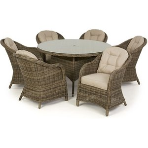 Maze Rattan Winchester 6 Seat Round Dining Set With Heritage Chairs
