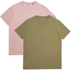 Mens **burton 2 Pack Khaki And Pink Basic T-shirts, Khaki Br45m01qkhk Mens Outerwear, Khaki