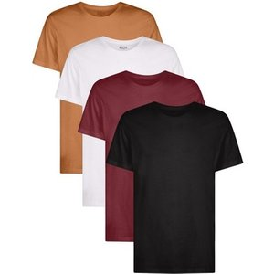 Mens **burton 7 Pack Of Organic Brown, Frost, Burgundy And Black T-shirts, Burgundy Br45m04rbur Mens Outerwear, Burgundy