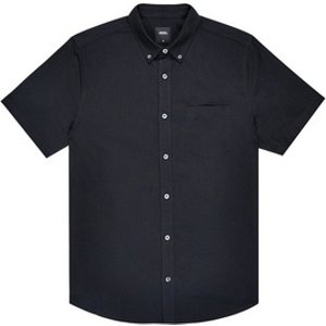 Mens Burton Black Short Sleeve Oxford Shirt, Black Br22o02kblk Mens Outerwear, Black