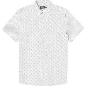 Mens Burton Grey Fine Dot Short Sleeve Oxford Shirt - Lt Grey, Lt Grey Br22p02qgry Mens Outerwear, Lt Grey