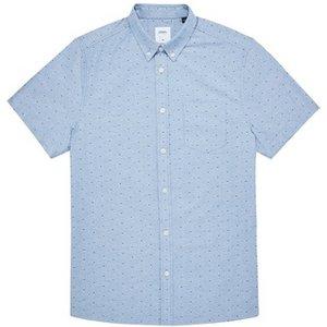 Mens Burton Light Blue Short Sleeve Ditsy Oxford Printed Shirt, Blue Br22p01qblu Mens Outerwear, Blue