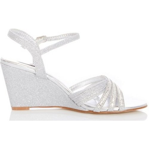 Womens *quiz Silver Diamante Wedge Sandals, Silver Dp08005930 Womens Footwear, Silver
