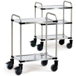 Three Tier Modular Stainless Steel Trolley - Shelf Size 630 X 400mm E394182 Office Supplies