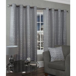 Athens Lined Eyelet Curtains - 66 Inches Iw539306