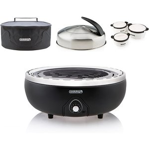 Portable Bbq Grill With Bag & Lid With Built In Thermometer And Set Of 3 Insulated Dishes Iw537977