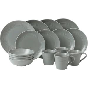 Maze Dark Grey 16-piece Dinner Set By Royal Doulton 701587150385 Crockery, grey
