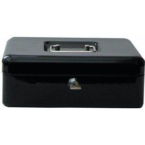 Value 30cm (12 Inch) Key Lock Metal Cash Box Black 14158ca