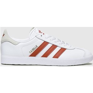 Adidas White & Red Gazelle Trainers White/red 1920721320 390, White/Red