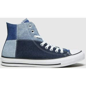 Converse Navy & Pl Blue Hi Upcycled Patchwor Trainers Navy/pl Blue 3410695470 430, Navy/Pl Blue