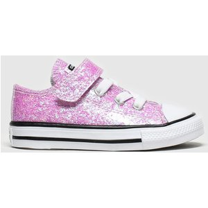 Converse Pale Pink All Star 1v Lo Glitter Trainers Toddler 8509073360 260, Pale pink