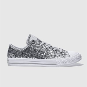 Converse Silver All Star Ox Glitter Trainers Youth 8711807660 380, Silver