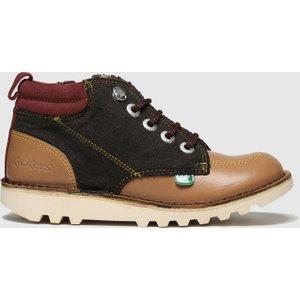 Kickers Brown & Red Kick Hi Winterised Boots Junior Brown/red 5300760420 350, Brown/red