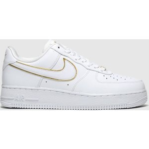 Nike White & Gold Air Force 1 07 Trainers White/gold 1959241920 370, White/Gold