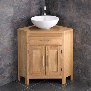 Corner Oak Vanity Unit With Round Basin Bundle Ceramic 400mm Diameter Sink With Tap And Wa 2935 Bathroom Sinks & Taps