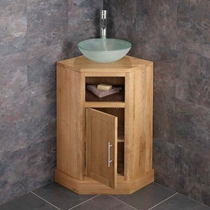 Corner Oak Vanity Unit With Round Frosted Glass Basin Bundle 310mm Diameter Sink With Tap  2889 Bathroom Sinks & Taps