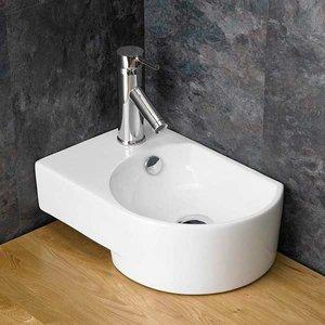 Countertop Bathroom Basin With Overflow In White Ceramic Left Hand 400mm X 270mm Aversa 2670 Bathroom Sinks & Taps