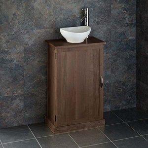 Narrow Dark Oak Bathroom Vanity Unit With Oval Basin Bundle Wenge Oak Cabinet And Ceramic  3549 Bathroom Sinks & Taps