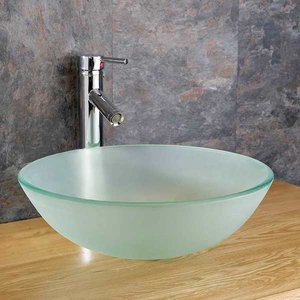 Round Countertop Bathroom Basin Frosted Glass 310mm Diameter Surface Mounted Bowl Sink Mon 2828 Bathroom Sinks & Taps