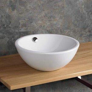 Round Countertop Bathroom Basin With Overflow White Ceramic 395mm Diameter Wash Bowl Folig 3182 Bathroom Sinks & Taps