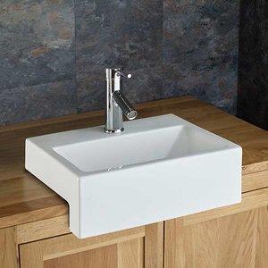 Semi Recessed Bathroom Basin Rectangular In White Ceramic 430mm X 330mm Sink Anadia 3243 Bathroom Sinks & Taps