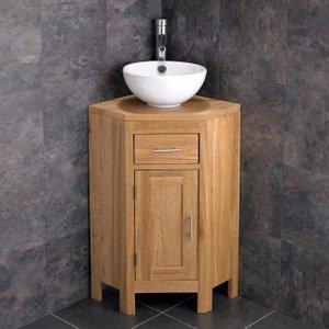 Small Corner Oak Vanity Unit With Round Basin Bundle Ceramic 300mm Diameter Sink With Tap  2916 Bathroom Sinks & Taps