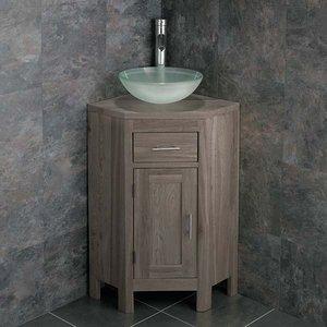 Small Oak Corner Bathroom Vanity Unit And Round Frosted Glass Basin Bundle Grey Wash Oak C 3497 Bathroom Sinks & Taps