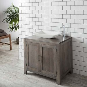 Solid Oak Bathroom Vanity Unit In Grey Wash With White Stone Resin Rectangular Basin Bundl 3486 Bathroom Sinks & Taps
