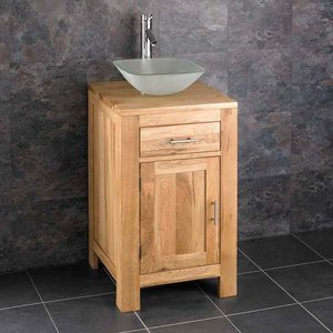 Solid Oak Vanity Unit With Square Basin Bundle Frosted Glass 310mm Square Sink With Tap An 2904 Bathroom Sinks & Taps