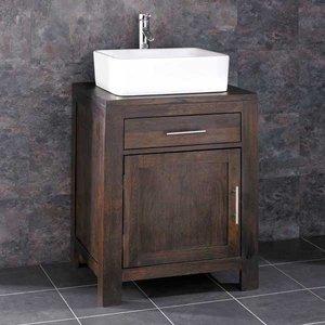 Solid Wenge Dark Oak Bathroom Cabinet Bundle With Choice Of White Ceramic Basin Set 600mm  3413 Bathroom Sinks & Taps