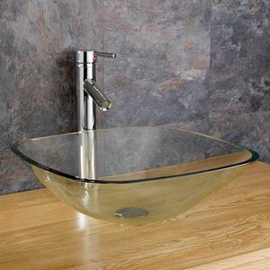 Square Countertop Bathroom Basin Clear Glass 310mm Surface Mounted Bowl Sink Monza 2827 Bathroom Sinks & Taps