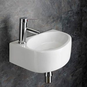 Wall Hung Cloakroom Basin Left Hand Sink In White Ceramic 430mm X 290mm Balsamo 3052 Bathroom Sinks & Taps