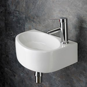Wall Hung Cloakroom Basin Right Hand Sink In White Ceramic 430mm X 290mm Balsamo 3053 Bathroom Sinks & Taps