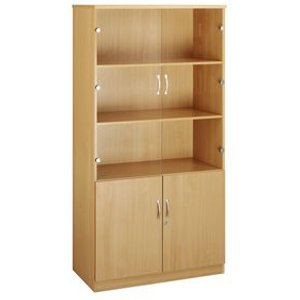Deluxe Combination Bookcase With Wood And Glass Doors- 3 Shelves Beech - H X W Storage