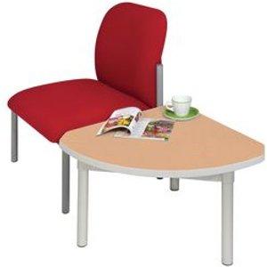 Enviro Quadrant Coffee Table, Silver  Anodised Frame, Beech Top, Light Grey Edge Tables