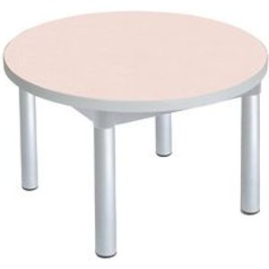Enviro Round Coffee Table, Silver  Anodised Frame, Maple Top, Light Grey Edge Tables