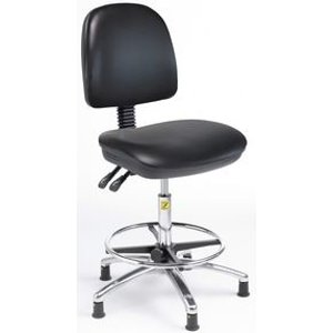 Esd High Ergonomic Chair With Adjustable Foot Ring In Black Vinyl Chairs
