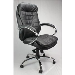 Leather Faced Exec With Chrome Base Black Leather Chairs